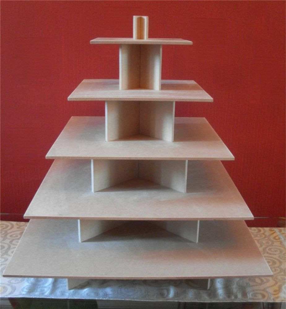 5 Tier Square Cupcake Party Wedding Cake Buffet Stand